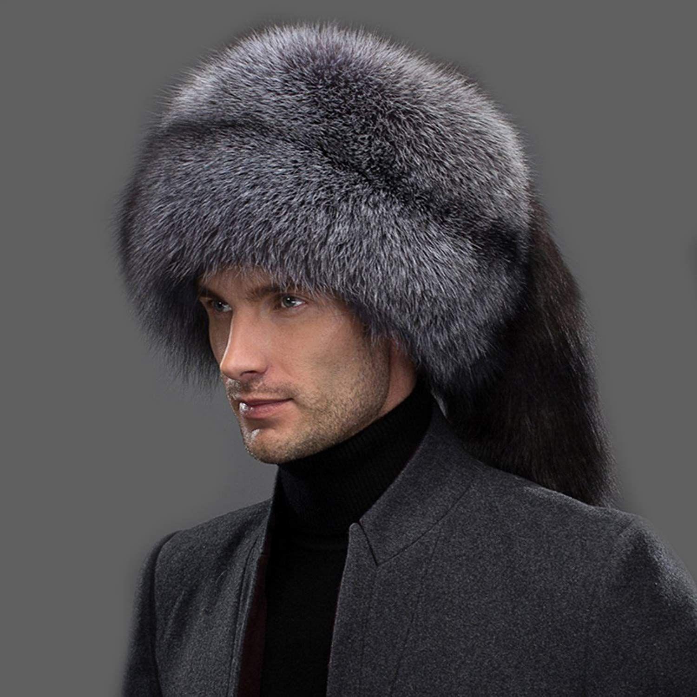 fe66ee11f3776 URSFUR Winter Mens Russian Ushanka Hat Real Leather   Fox Fur Trapper Cap