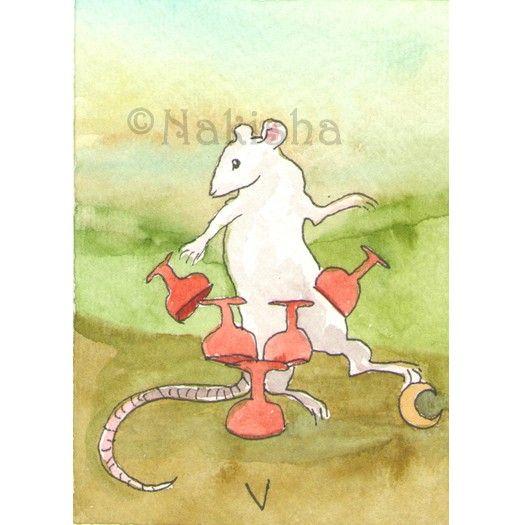 TaRat  The Rat Tarot  Original Art  Five of Cups by bluedogrose, $11.00