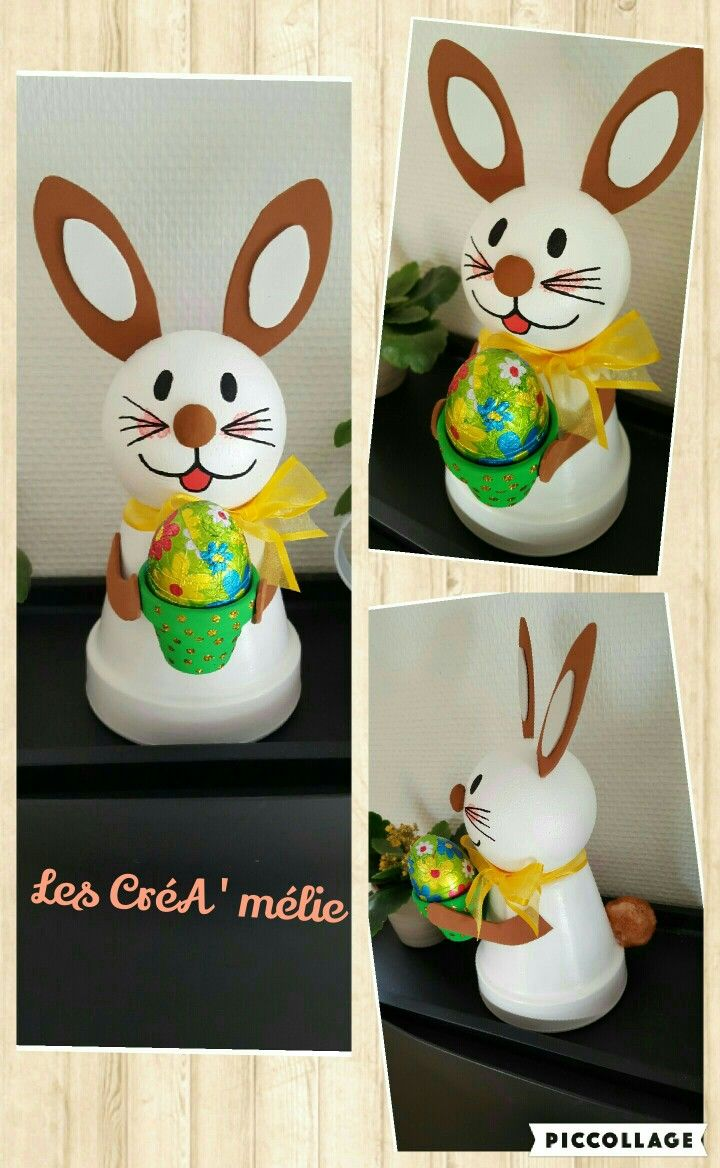 Decoration Petit Pot De Fleur lapin paque en pot de terre   pots de fleurs en terre cuite