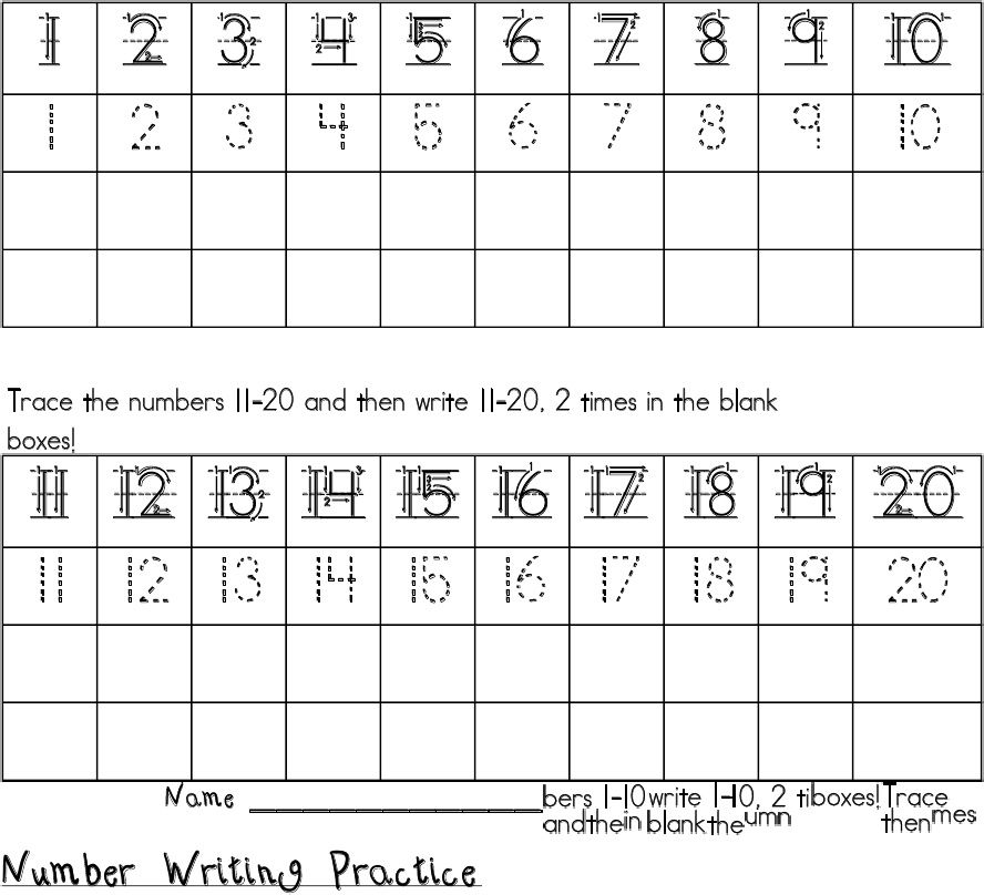 Number Writing 1-20 (*Note to self- I have downloaded this ...
