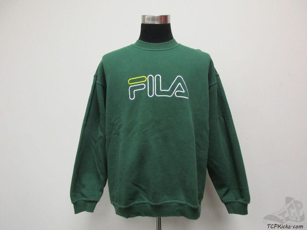 5ef6aace630c8 Vtg 90s Fila Crewneck Sweatshirt sz L Large SEWN Grant Hill Green Yellow  White #Fila #SweatshirtCrew #tcpkickz