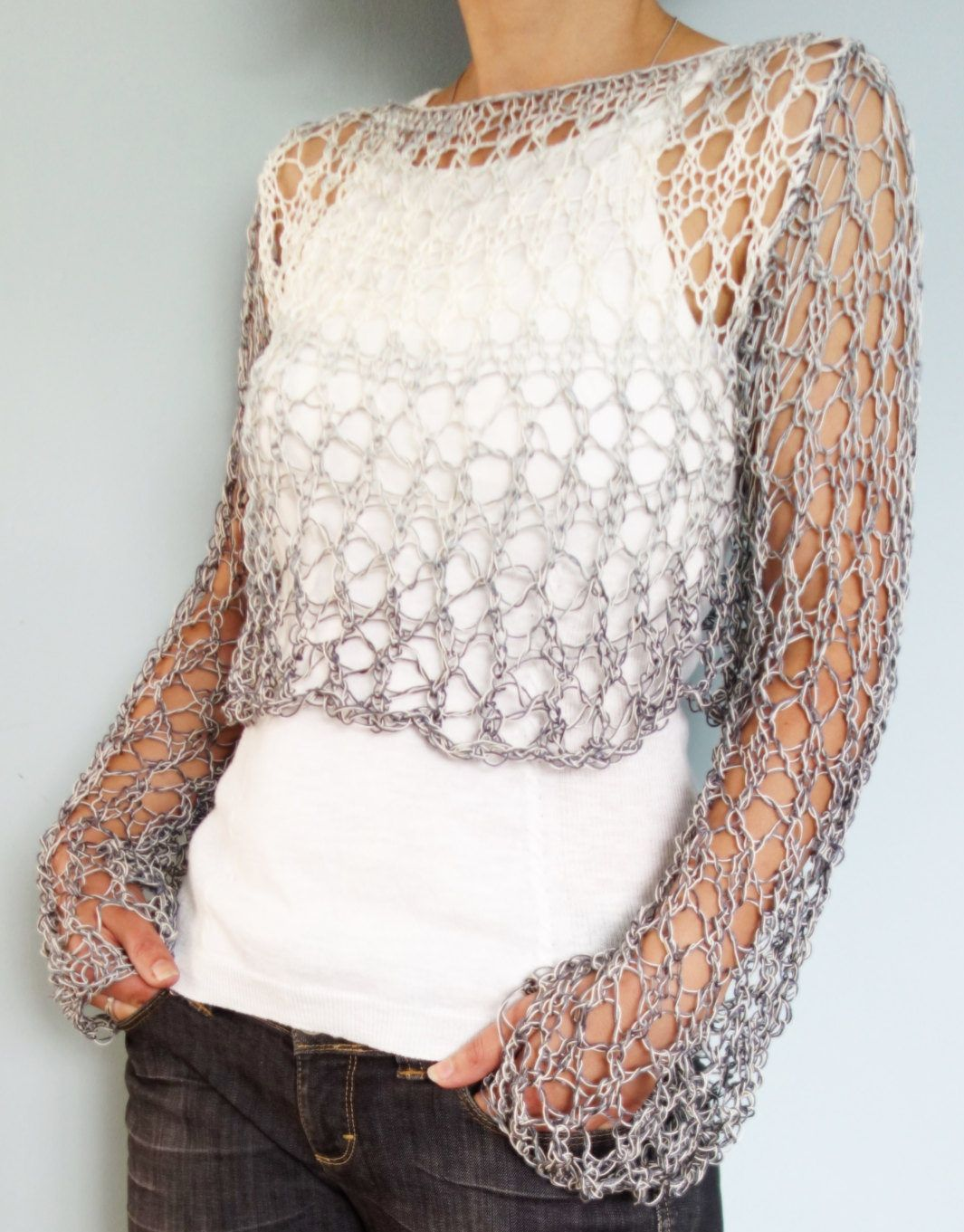 Lace Pullover Free Knitting Patterns | Grey crop top, Ombre yarn and ...