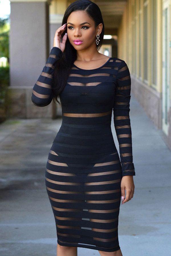 Black+Stripe+Sheer+Mesh+Long+Sleeve+Blackless+Sexy+Clubwear+ Black+ Clubwear + maykool 4c41057f5