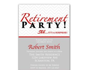 surprise retirement party invitation gray chevron red masculine, Powerpoint templates