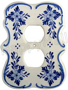 Delft Blue Double Outlet Cover Plate Outlet Covers Delft Blue And White China