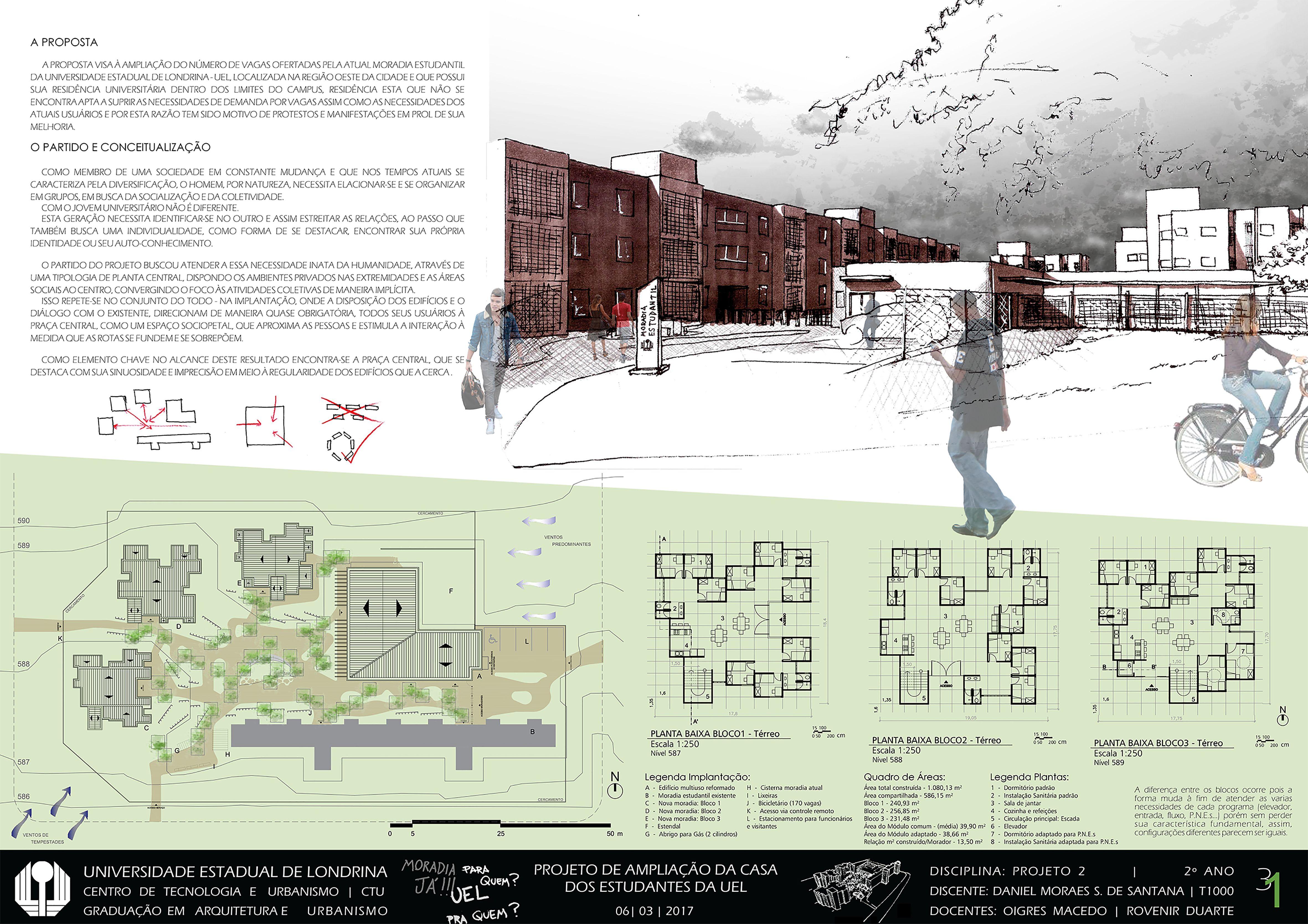 Excepcional Projeto Arquitetura | Moradia Estudantil | Casa Universitária  JY05