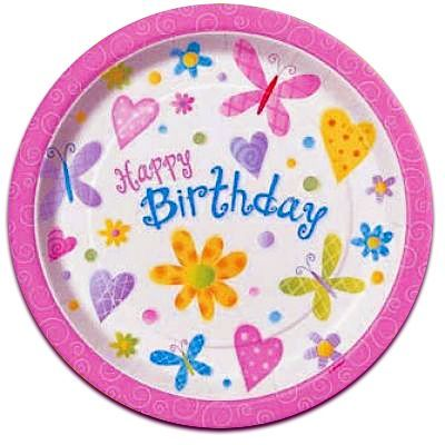 Garden Girl Birthday Plates