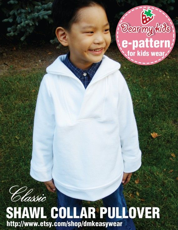 Unisex Shawl Collar Pullover (12 months upto age 6) PDF patternFrom ...