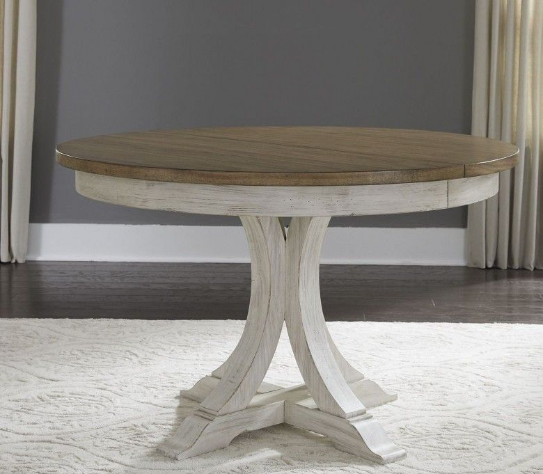 Farmhouse reimagined antique white extendable oval dining