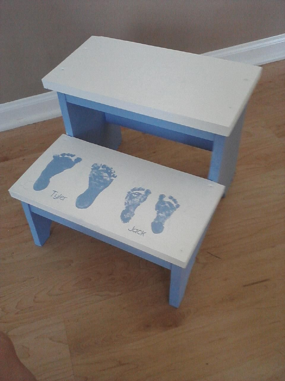 My Ana White Step Stool For The Boys With Tyler Jack S Foot