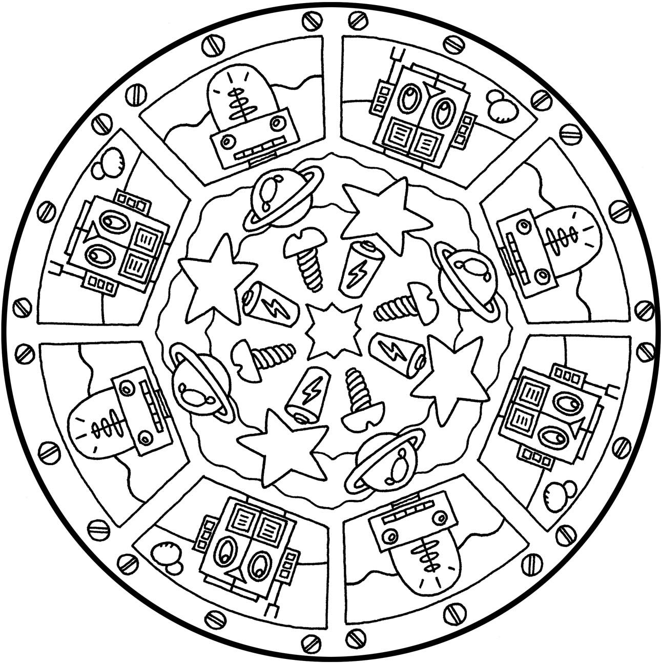 cool robot mandala  free printable mandala coloring pages
