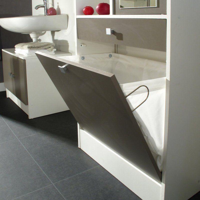 meubles salle de bain meubles et rangements armoire et bac linge blanc taupe mat avec. Black Bedroom Furniture Sets. Home Design Ideas