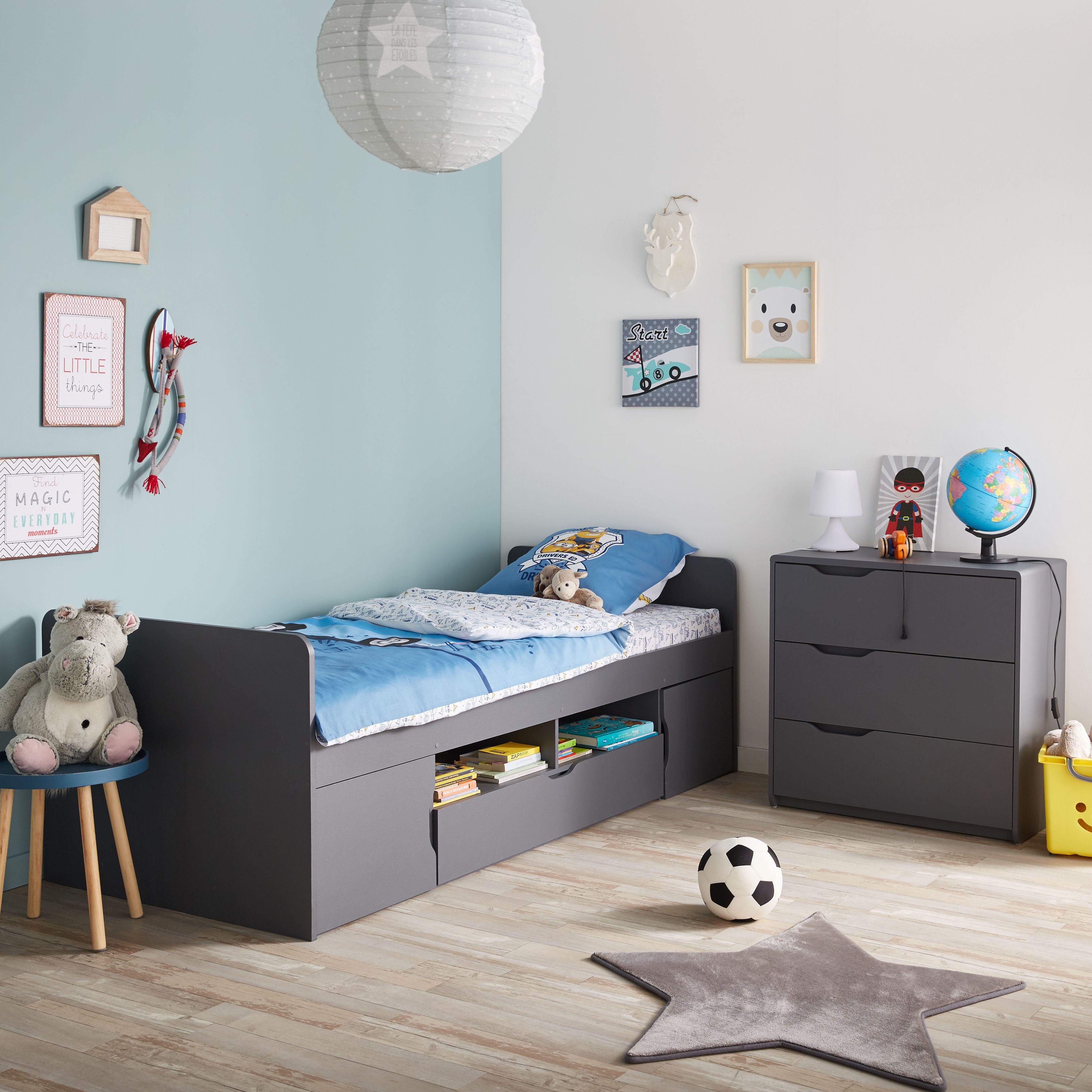 cool lit 1 place gris avec rangements