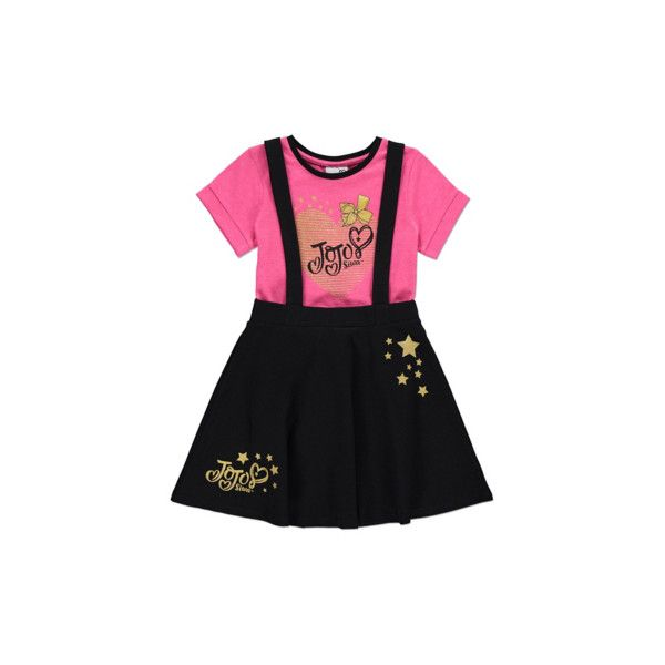 8daed8409fdf6 George JoJo Siwa Pinafore Dress and T-shirt Set ($25) ❤ liked on Polyvore  featuring black