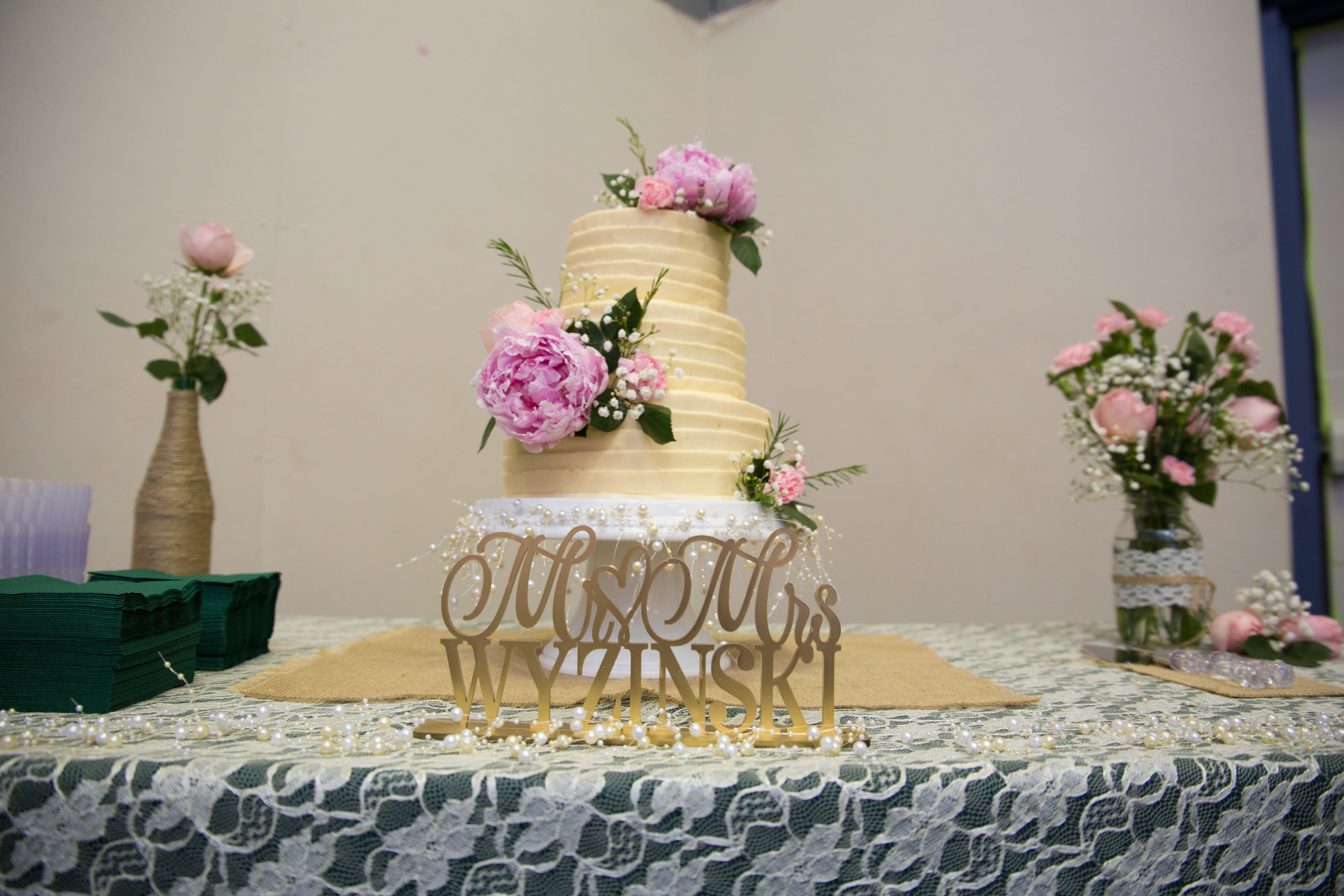 Wedding Cake Table Custom Sign Instead Of Cake Topper 3