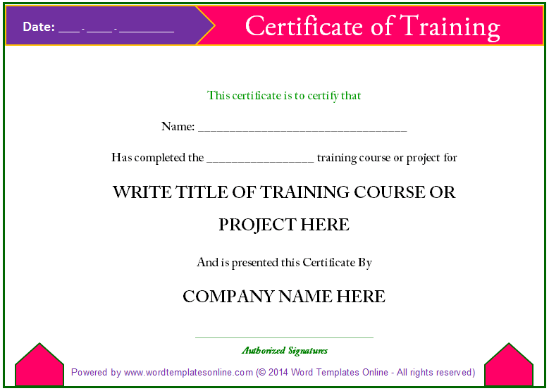 Training Certificate From Word Templates Online  Breakfast