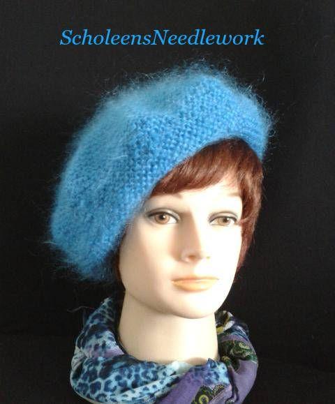 cf64d8e0a499e Blue Mohair Beret ABIGAIL. Hand Knitted Sky Blue beret tam hat ...