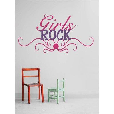 """Design With Vinyl Girls Rock Wall Decal Color: Pink/Purple, Size: 12"""" H x 30"""" W x 0.16"""" D"""