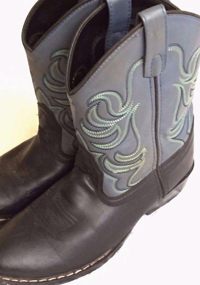 8146e0148a4 SMOKY MOUNTAIN Kids Western Cowboy Boots Sz 2.5 D Black & Gray ...