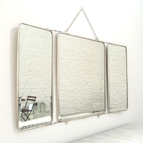 Miroir barbier 3 faces nickel argenté cha ne amovible Chaumont