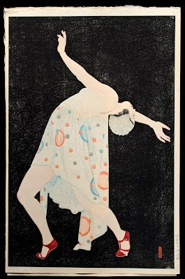 Kobayakawa Kiyoshi (1899–1948); Dansā or Setsuna no kyokusen (Dancer or Curve of the Instant); woodblock print; ink and colors on paper, 1932; 41.9 x 25.4 cm (16½ x 10 in.); photograph courtesy of The Levenson Collection. Japan Society, NY.