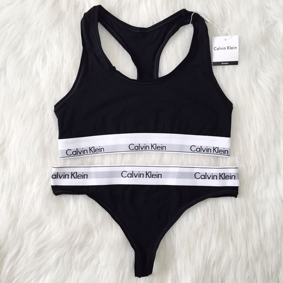 60a1845aa9f Calvin Klein sports bra and thong •size  tag says L but fits a M better  •features  matching black Calvin Klein sports bra and thong underwear set  •will give ...