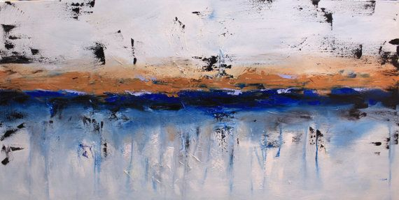 Large Original Painting, Blue And Copper Wall Art, White Wall Art ...