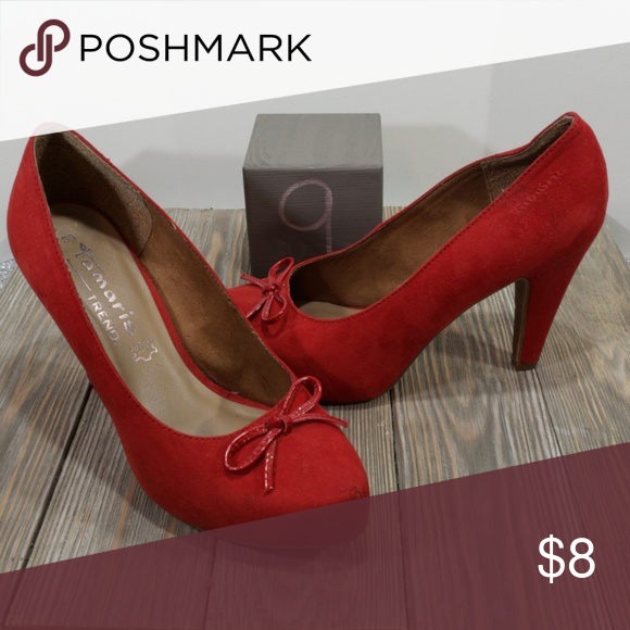 77b43b18 Tamaris red heel 9 Tamaris trend size 39/9 red heels with bow Tamaris Shoes  Heels