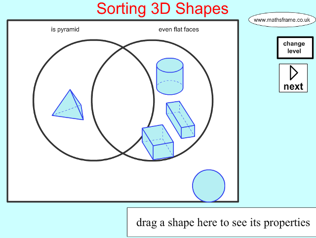 Sorting 3d Shapes On A Venn Diagram Shape Space 3d Objects
