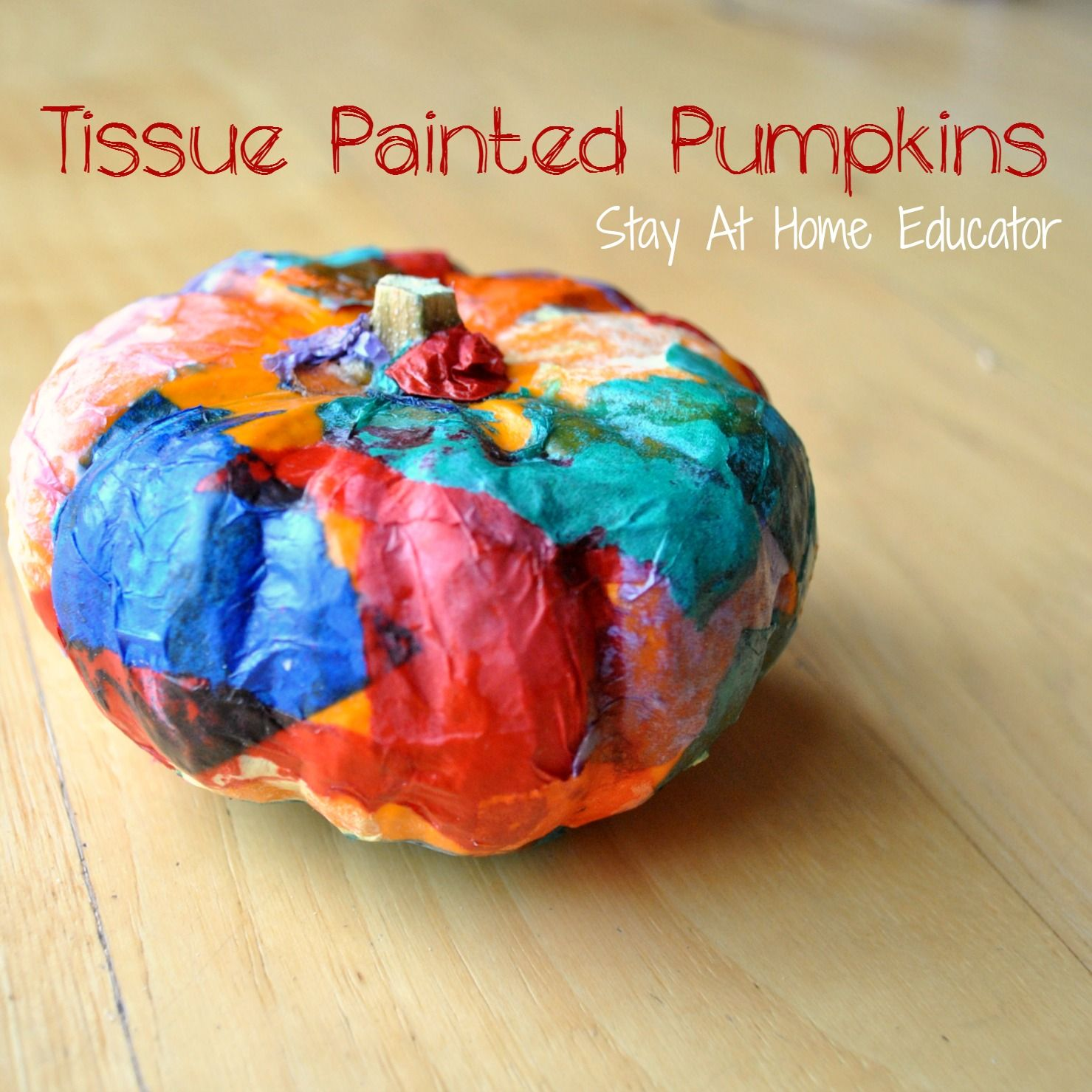 Tissue Painted Pumpkins