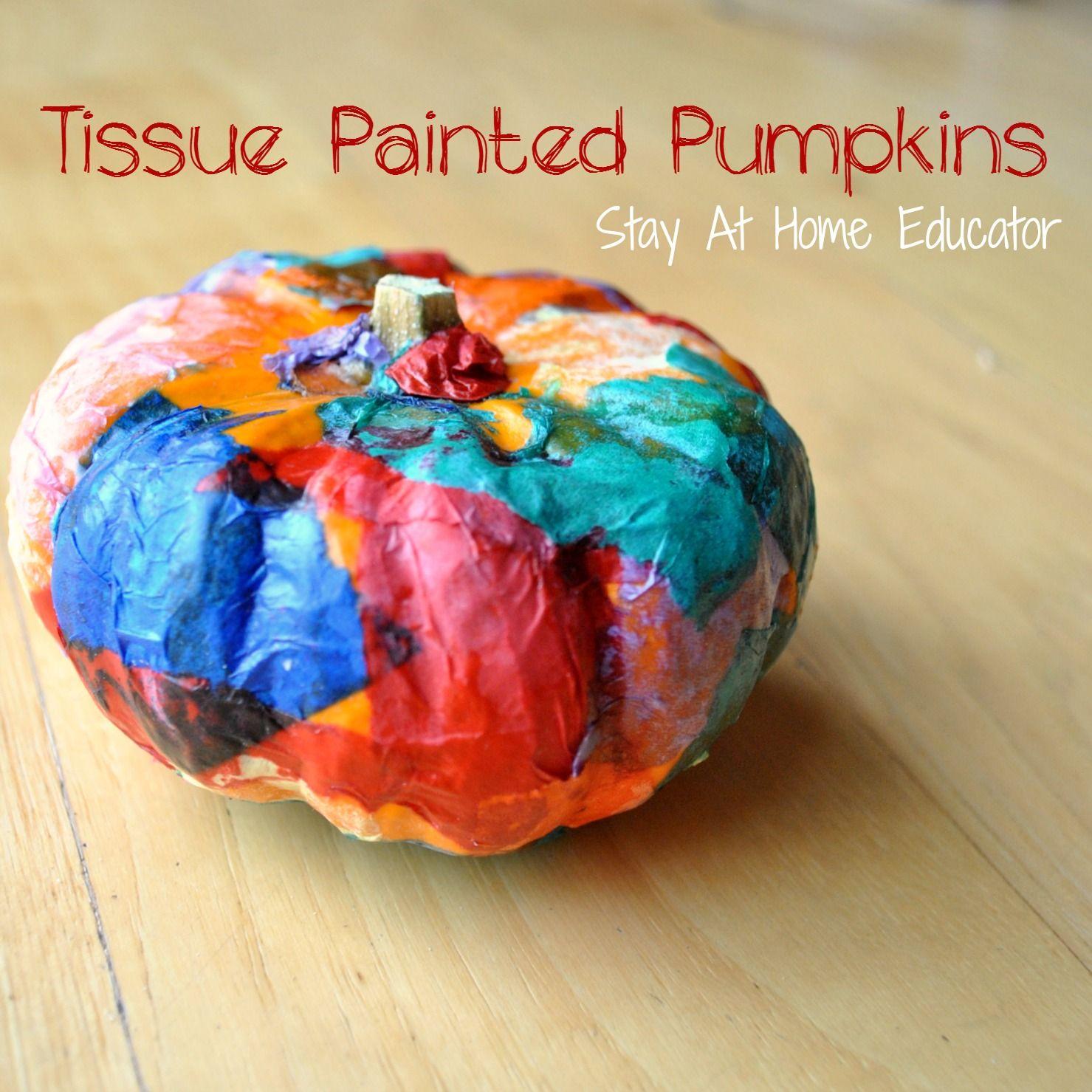 Tissue Painted Pumpkins