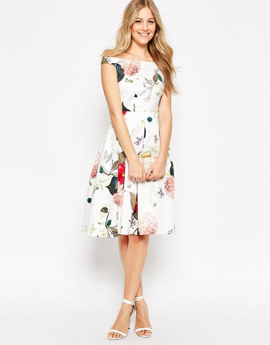 Off The Shoulder Midi Prom Dress in Botanical Floral   Schulterfrei ...