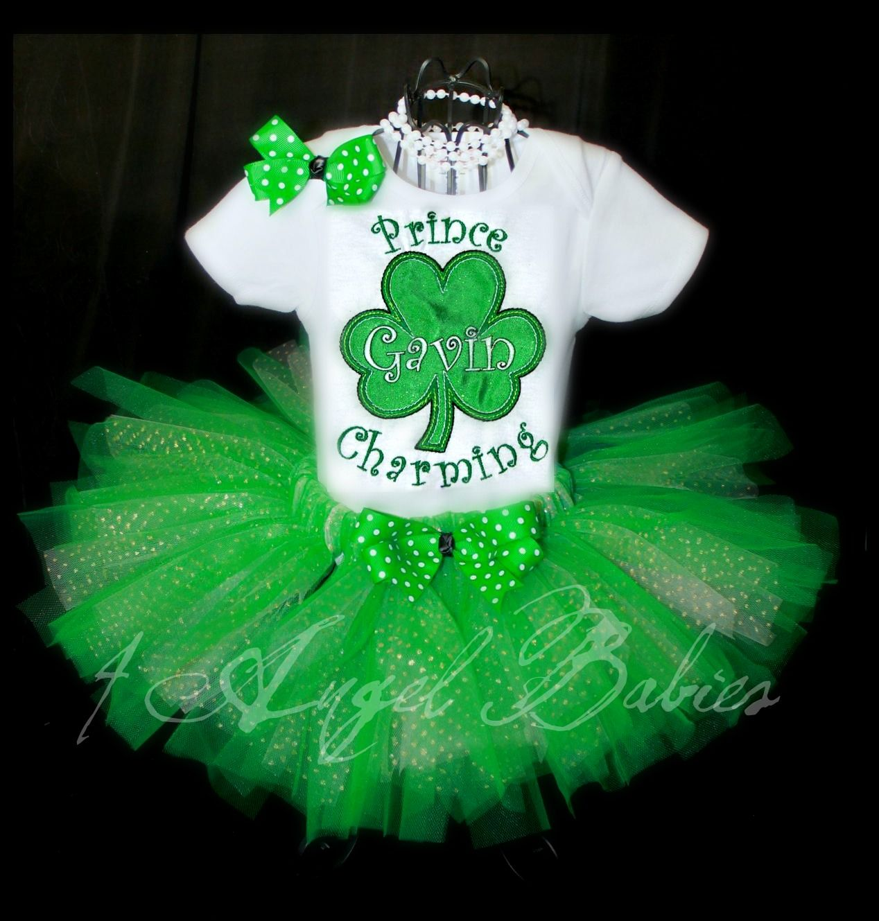 a52c6d2c9381 Irish Princess Shamrock Glitter Tutu Outfit St. Patrick s Day personalized  with name