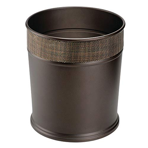 Mdesign Decorative Round Small Trash Can Wastebasket Garbage Containers Kitchen Trash Cans Trash Can
