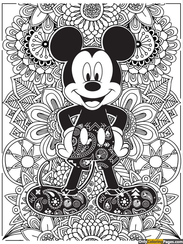 detailed mickey mouse coloring book for adults | Disney | Pinterest ...