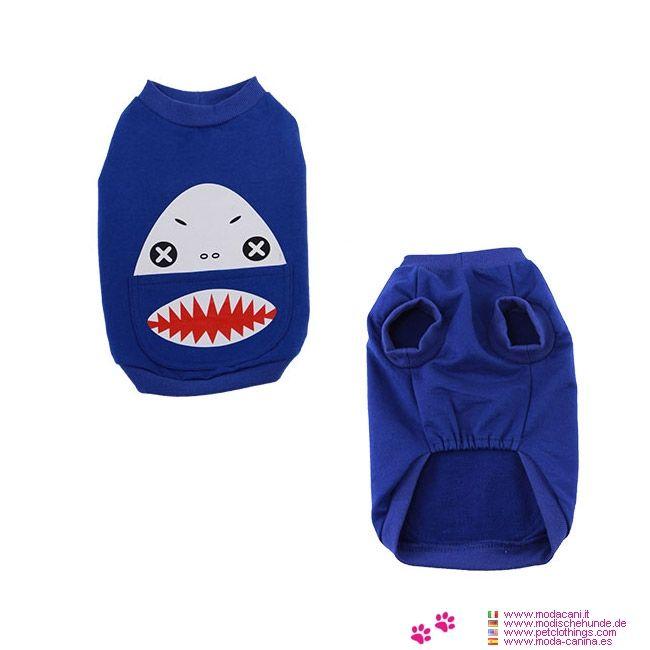 T-shirt Bleu pour Petit Chien modèle Requin - T-shirt Bleu électrique pour Petit Chien (Chihuahua, caniche, bichon maltais, Pinscher) complètement en coton, avec un requin imprimé sur le dos