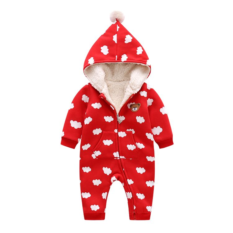 46a362bd5 Lovely Winter Baby Romper Clouds Print Warm Jumpsuit Christmas ...