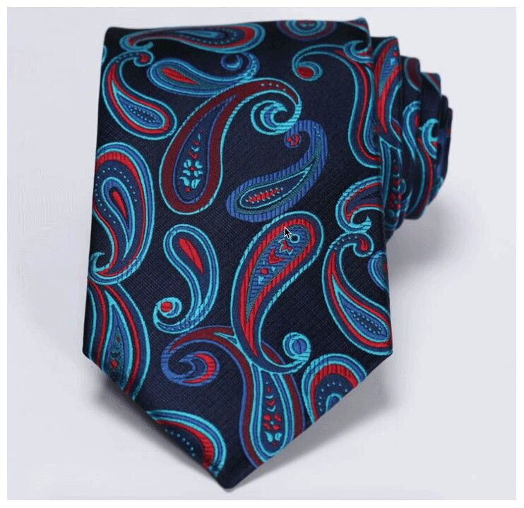 Navy Blue Red Paisley 3.4″ 100%Silk Wedding Jacquard Woven Men Tie Necktie  Condition: Handmade Tie size: Length:59″(150cm) Width: 3.4″(8.5cm)  www.bjcloth.com