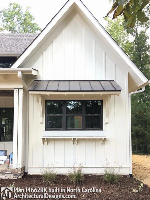 Dark Windows Awning Modern Farmhouse Plans House Exterior Farmhouse Sheds