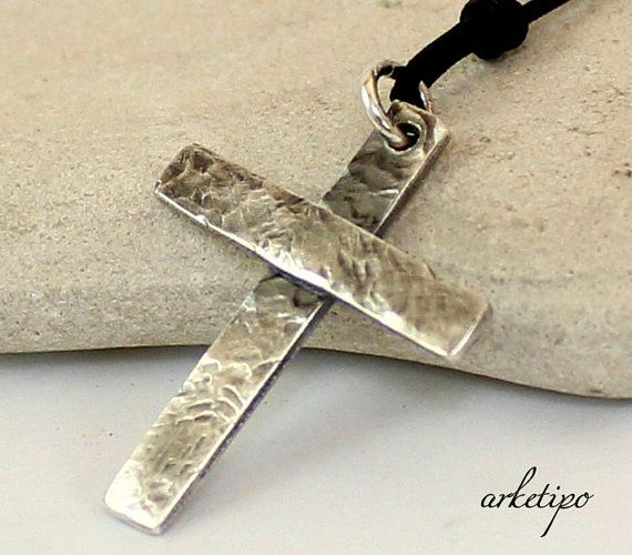 Personalized Hammered Sterling Silver Cross Necklace With