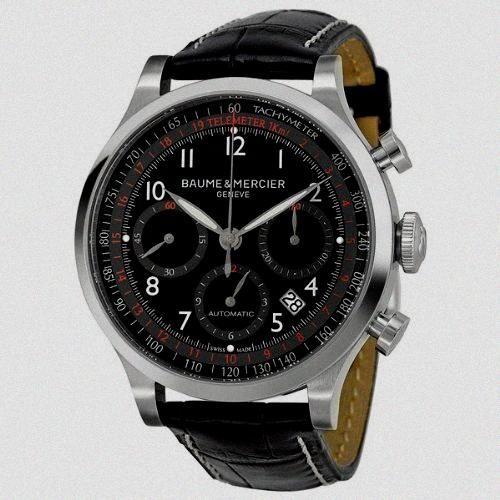 Baume et Mercier Capeland Black Dial Leather Mens Watch M0A10084