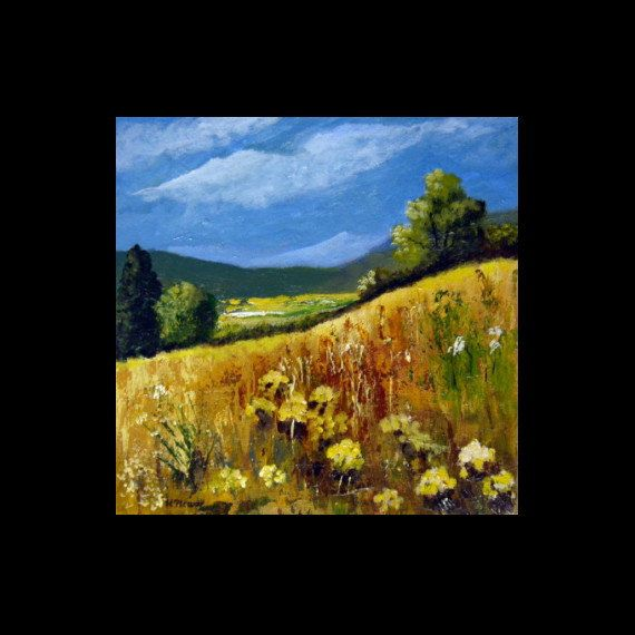 Country Summer  Original 12x12 acrylic Landscape by halinapl, $115.00