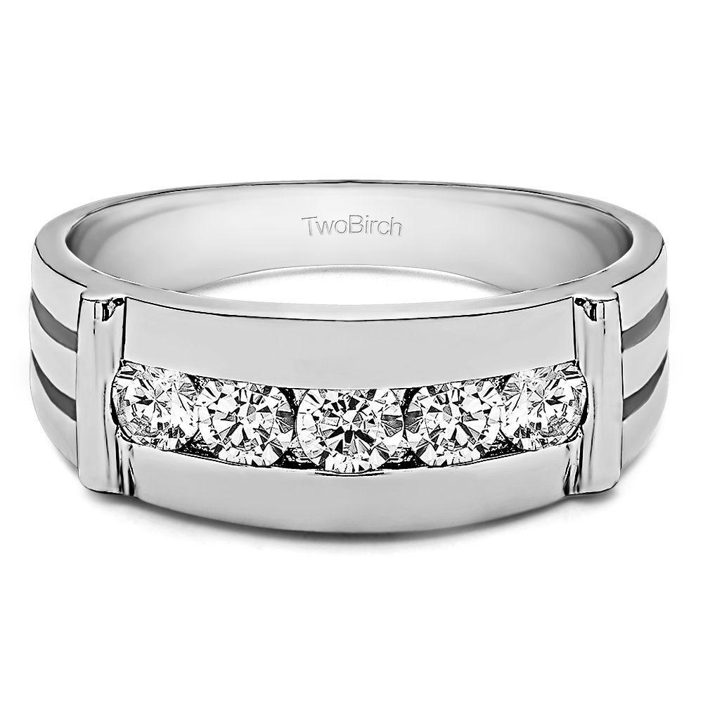 10k white gold mens 12ct tdw diamond channelset ring g