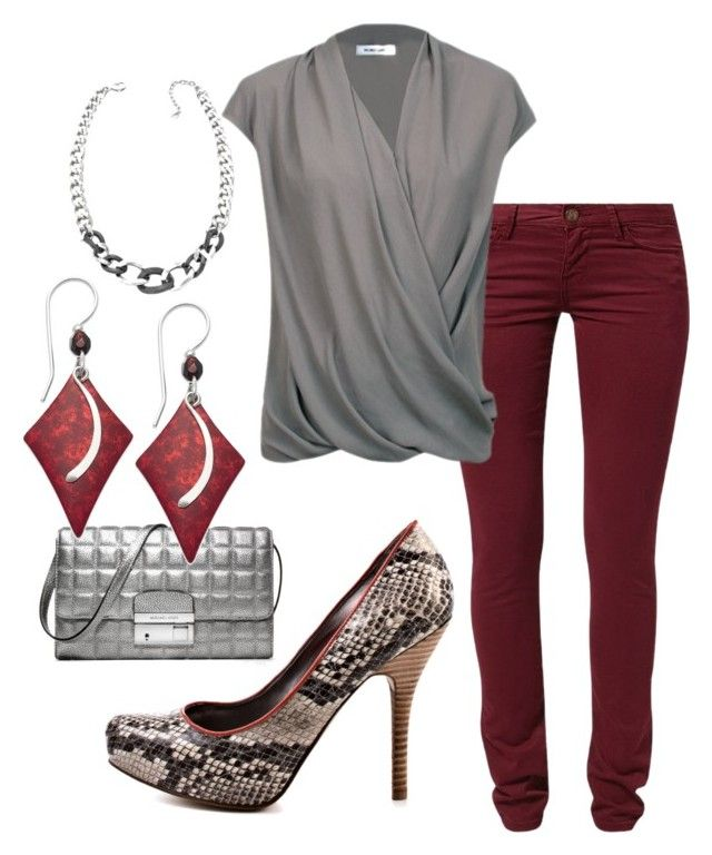 """""""Rubies & Silver Lining"""" by mskiraj ❤ liked on Polyvore featuring Maggie, Swarovski, Helmut Lang, Michael Kors, Jody Coyote and GUESS"""