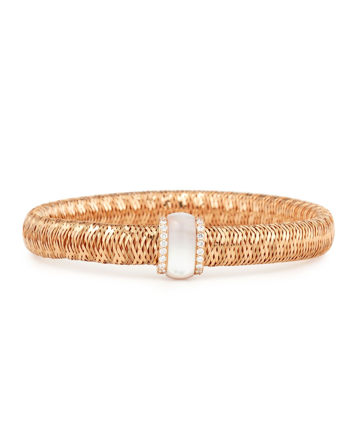 Primavera 18K Rose Gold Mother-of-Pearl & Diamond Station Bracelet - Robert Coin