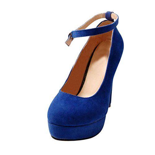 313842fe28c31 Coloré Femme Escarpins (TM) Bride Cheville Sexy Talon Aiguille Plateforme  Epais Fermeture Lacets Chaussures Club Soiree (36 Bleu)