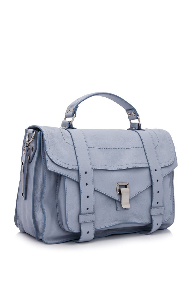 Proenza Schouler PS1 Medium Leather Satchel Polar Blue (Designer Colour) - PROENZA SCHOULER