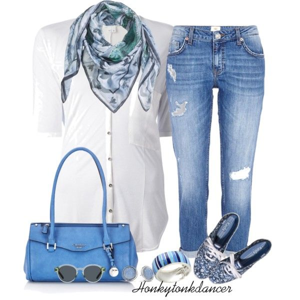 Classic Blue and White, created by honkytonkdancer on Polyvore