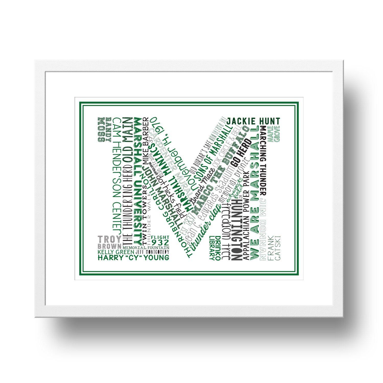 Marshall University Typographical 8x10 Art Print by