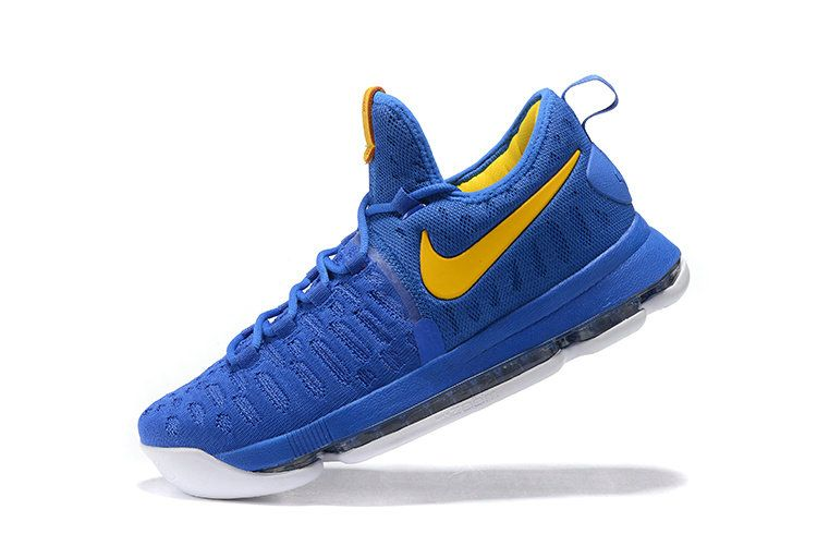 daa5e76b1448 KD IX Flyknit Warriors Away All Blue Yellow